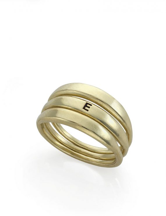 triple rise ring gold E