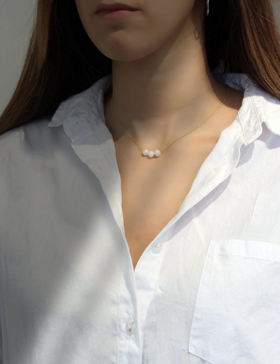 silver pearl gold necklace s