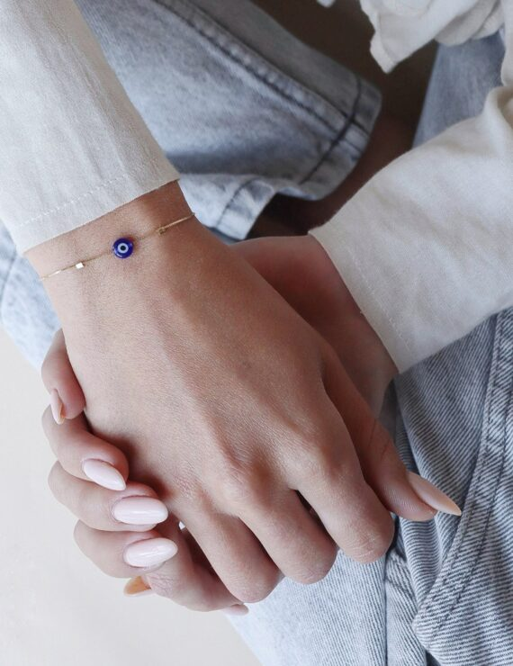 14k gold bracelet blue eye