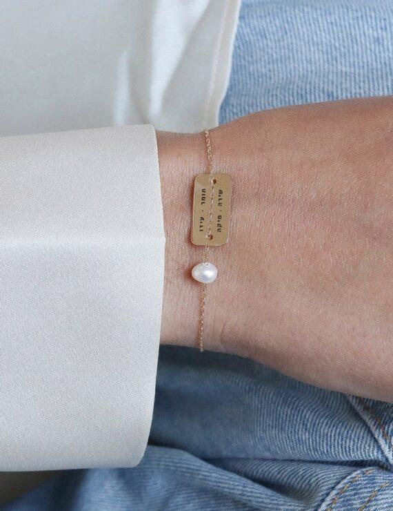 bar braceet gold pearl