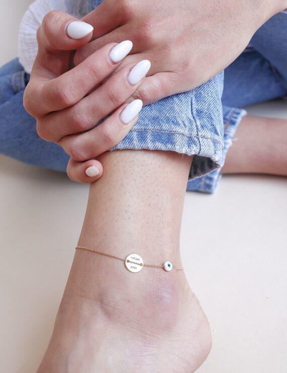 button anklet 14k white