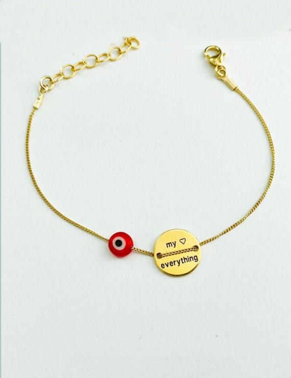 buton bracelet red goldfilled 2